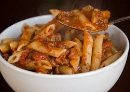Penne with Meat Sauce & Marinara