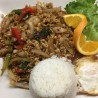 Pad Kra Paw Over Rice with Fried Egg Combo