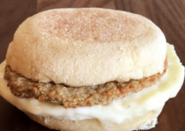 Turkey Sausage Provolone Breakfast Sandwich