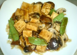 Tofu with a Trio of Mushrooms