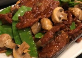 Beef and Chinese Snow Peas w/ a Trio of Mushrooms
