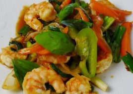 Shrimp with Basil Leaves
