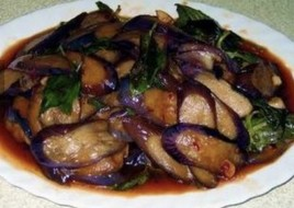 Eggplant with Basil Leaves