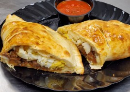 Fried Eggplant, Hardboiled Egg and Feta Calzone